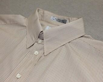vintage 1980's -Aquascutum- Men's tab collar dress shirt. Alternating color pinstripe - All cotton. Large 16 1/2 x 35