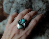 POWWOW, turquoise ring, tribal, sterling artisan, Apache Gold, size 6.5, bezel set statement ring, American Indian style, rustic