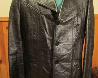 Vintage Mens Leather Jacket, Mens Butter Soft Leather Coat, Mens Leather Coat, Black Leather Measures Like A Size 40 Regular