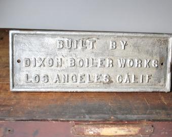 Industrial Old Antique Cast Iron Sign Boiler Works Los Angeles Calif.