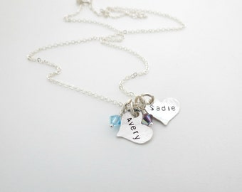 Personalized Necklace - Double Heart Necklace - Kids Names with Birthstone - Personalized Jewelry - Mother Necklace - For Nana - Grandma