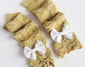 Gold Baby Leg Warmers with Any Color Bow