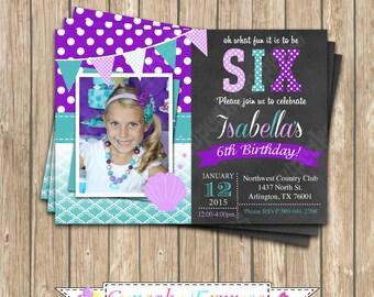 DIY  Ariel Inspired  little mermaid Birthday Party  PRINTABLE  Invitation 5x7 4x6  purple teal under the sea