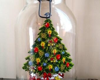 Vintage Carlton Glass Cookie Jar 3L with Christmas Tree, 1970s