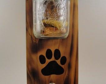 CUSTOM ORDER-dog leash treat holder mason jar wall mount paw print wood natural burnt vertical