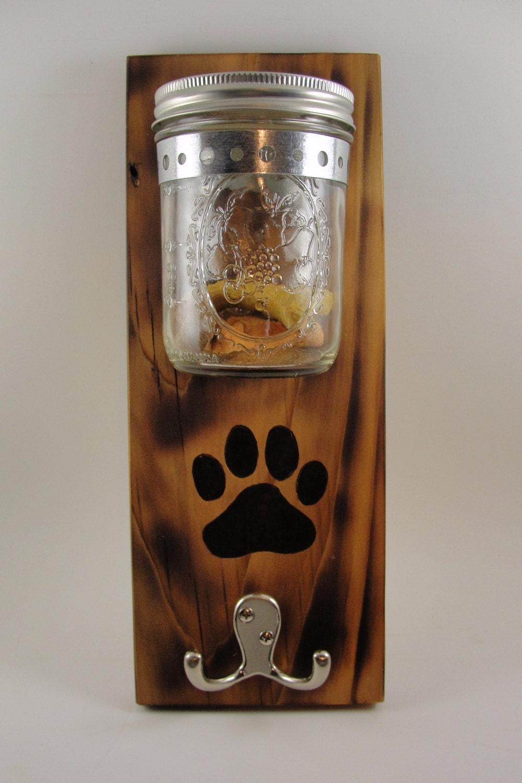 Custom Order Dog Leash Treat Holder Mason Jar Wall Mount Paw
