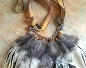 Gorgeous Ameraucana Rooster Feather Silk Ribbon Necklace/Gypsy/Boho. RESERVED