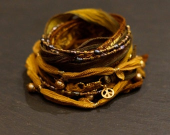 Golden Leaves/ Warrior Wrap/bracelet/necklace