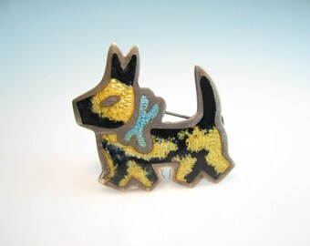 Scottie Dog Brooch. Mexico Sterling Silver Guilloché Enamel. Brindle Scottish Terrier. Signed Vintage 1950s Jewelry