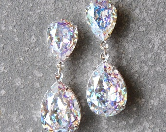 Aurora Borealis Earrings Swarovski Crystal Confetti Glitter Bubble Earrings Pear Tear Drop Rhinestone Post Dangle Duchess Pear Mashugana