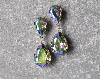 Rainbow Earrings Swarovski Crystal Green Purple Carnival Glass Earrings Pear Tear Drop Rhinestone Post Dangle Duchess Pear Mashugana