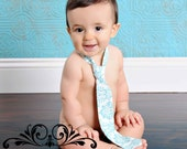 Toddler Tie - Blue Damask Boy Tie - Baby/Toddler Ties - Baby Ties -Baby Boy Photo Prop - Baby Boy Neck Tie - Velcro Tie - Adjustable Tie