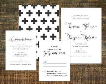 Swiss Cross Wedding Invitation Suite (Set of 25) | Wedding Invitation Set, Wedding Invite, Black and White Invitation, Invitation Set