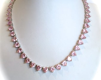 Vintage Sterling Silver Pink Sapphire Heart Necklace Estate Necklace Pink Stone Necklace Heart Necklace Formal Necklace Jewelry Set
