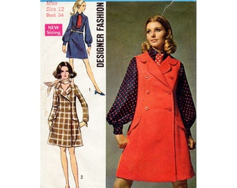 1960s Coat Dress or Jumper Pattern Simplicity 8392 Vintage Sewing Pattern Bust 34 FF Unused Mod Dress with Ascot