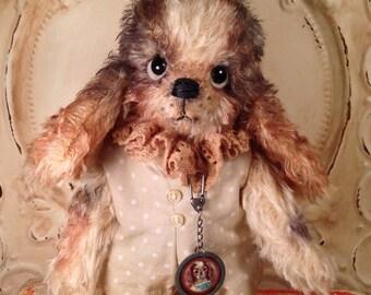 Primitive Antique style Artist Bear Mohair Spaniel Dog OOAK Handmade Hafair