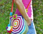 Big rainbow bag - crochet bag pattern, DIY