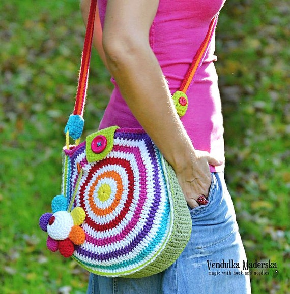 Crochet Crossbody Bag Pattern : Big rainbow bag crochet bag pattern DIY by VendulkaM on Etsy