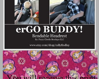 Neck Pillow for Kids erGO BUDDY Bendable baby / toddler headrest carseat pillow and cover in Frozen Elsa and Anna