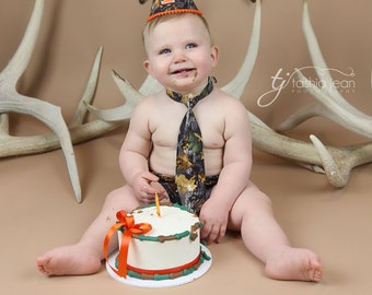 Camo First Birthday Outfit First Birthday Cake Smash Diaper Cover Necktie and Party Hat in Camo and Blaze Orange
