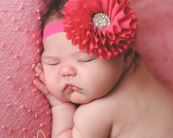 Dark Pink baby headband, fuschia headband, vintage, baby headband, infant headband, newborn headband, girl headband, hair clip, photo prop