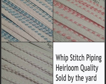 Whip Stitch Piping 1 yard White Baby Blue or Pink Pick your color
