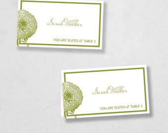 Printable Place Card Template - INSTANT DOWNLOAD - Escort Card - For Word and Pages - Mac and PC - Flat or Folded - Floral Design