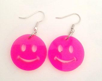 Smiley Face Laser Cut Acrylic Dangle Earrings Neon Pink
