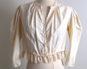 Antique Blouse, Octoberfest, Vintage Baumwolle Blouse, Ivory Ethnic Folk Top, Old World Blouse, Octoberfest