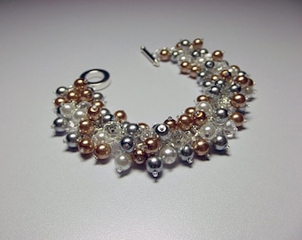 Silver White Gold Pearl and Crystal Cluster Bracelet, Mom Sister Bridesmaid Jewelry Gift, Valentines Mothers Day Gifts