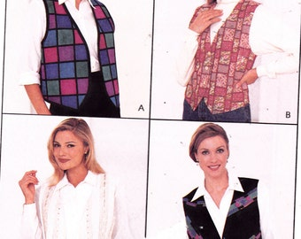 "Womens Sewing Pattern 1990's Vest or Shirt with Attached Vest Size 8-10-12 Bust 31.5-32.5-34"" McCall's 8110"