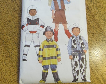 CUTE Children's Costumes - Cowgirl, Astronaut, Fire Fighter, Cowboy with Chaps - Size 2 - 3 - 4 - 5 - UNCUT Sewing Pattern Butterick 3244