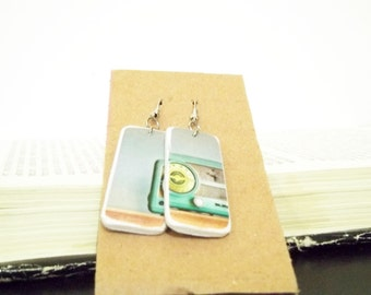 Paper jewelry, on the radio earrings, paper earrings, old radio earrings, retro earrings, radio jewelry, recycled earrings, paper earrings