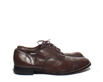 11 EE | Stacy Adams Lace Up Oxfords Madison Cap Toes Brown Leather Dress Shoes