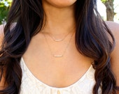 Tiny Freshwater Pearls - Layered Sandbar Necklace - 14k Gold Fill or Sterling Silver - Set of 2 Necklaces