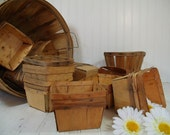 Vintage Set of a Dozen Wood Berry Baskets - Farm House Fresh Finds for Storage - 12 Rustic Organizer Bins Collection - 2 Sets / 24 Available