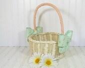 Vintage Hand Woven Off-White Wicker & Ribbon Flower Basket - Retro Garden Room Magazine Rack - Shabby Chic Carry All Oversized Decorator Bin