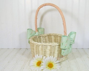 Vintage Hand Woven Off-White Wicker & Ribbon Flower Basket - Retro Garden Room Magazine Rack - Shabby Chic Carry All Oversized Decorator Bin