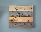 Reclaimed wood wall clock.  5 Year Anniversary Gift.  Rustic. Natural. No paint No stain.  Farmhouse style...gift.