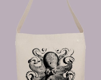 Vintage Octopus Illustration    - Hobo Sling Tote, 14.5x14x3, Crossbody Strap, Magnetic Closure, Inside pocket