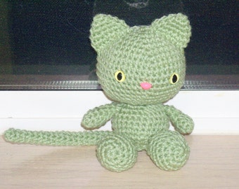 Playful Kitten - Frosty Green Crochet Cat Doll (Finished Doll)
