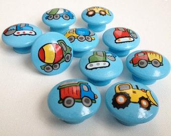 Construction Truck Drawer Pulls / Dresser Knobs / Closet Handles / Hand Painted for Boys, Kids, Nursery Rooms