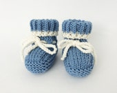 Baby Boy Booties, Newborn Booties, Wool Booties, Knit Baby Shoes, Blue Booties