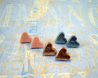 Heart Stud Earrings choose your color Sparkling Glitter Earrings bridesmaid gifts