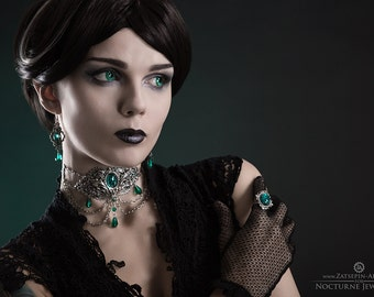 Elisanth Jewelry Set - Victorian Statement Jewelry with Emerald Green Stones