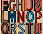 Limited edition large retro art print. Typography ephemera, vintage letters multicolour alphabet. Signals: WIRE (A to Z),  420 x 594mm