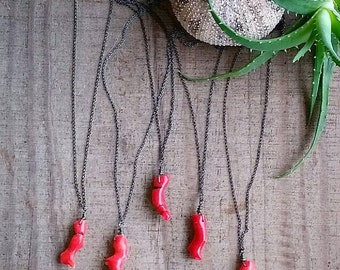 REEF Natural Red Coral Blackened Sterling Silver Necklace by MOONDROPS /// Minimalist Jewelry