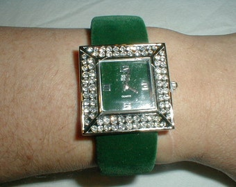 nolan miller green velvet pave crystal watch glamour collection town square watch sparkling crystal square watch statement watch elegant vtg