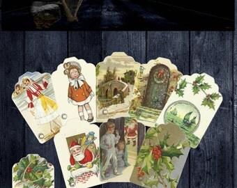 Digital Christmas Gift Tags Set 2 - 9 Old Fashioned Holiday Images -  PRINTABLE DOWNLOAD - Digital Designed Art - Gift Wrap - DIY