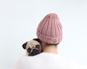 Altrosa Unisex Chunky Beanie Hat hand gestrickte Wolle